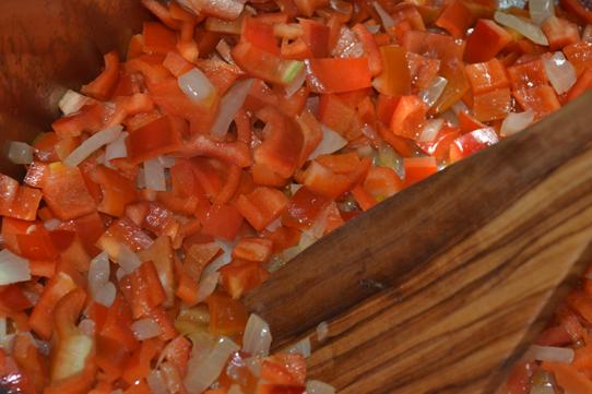 rote Paprika und Zwiebel