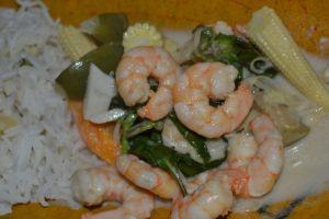 grünes Curry mit Shrimps